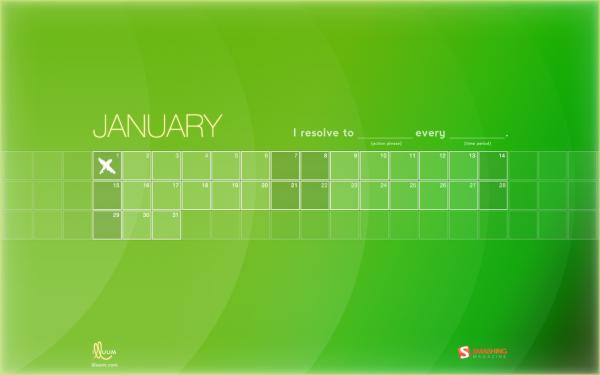 яркие обои с календарем на январь