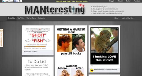 Сервис картинок Manteresting