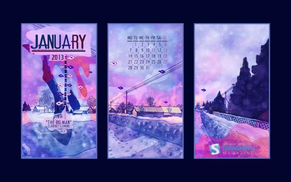 обои с календарем январь